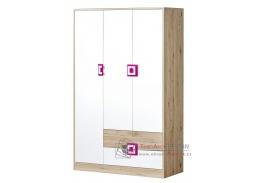 NIKO 03, šatní skříň 3-dveřová 120cm, dub jasný / bílá / růžová