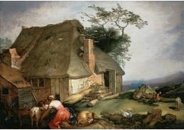 A-560 Abraham Bloemaert - Chata s rolníky dojícími kozy