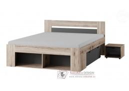 ROMA, postel 160x200cm, dub wellington / šedá antracit