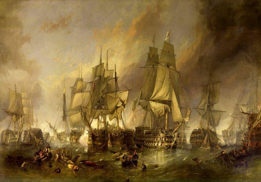 Obraz VL152 Clarkson Frederick Stanfield - Bitva u Trafalgaru