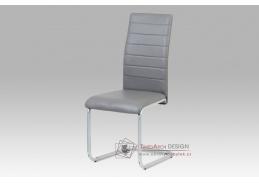 DCL-102 GREY, jídelní židle, šedý lak / koženka šedá