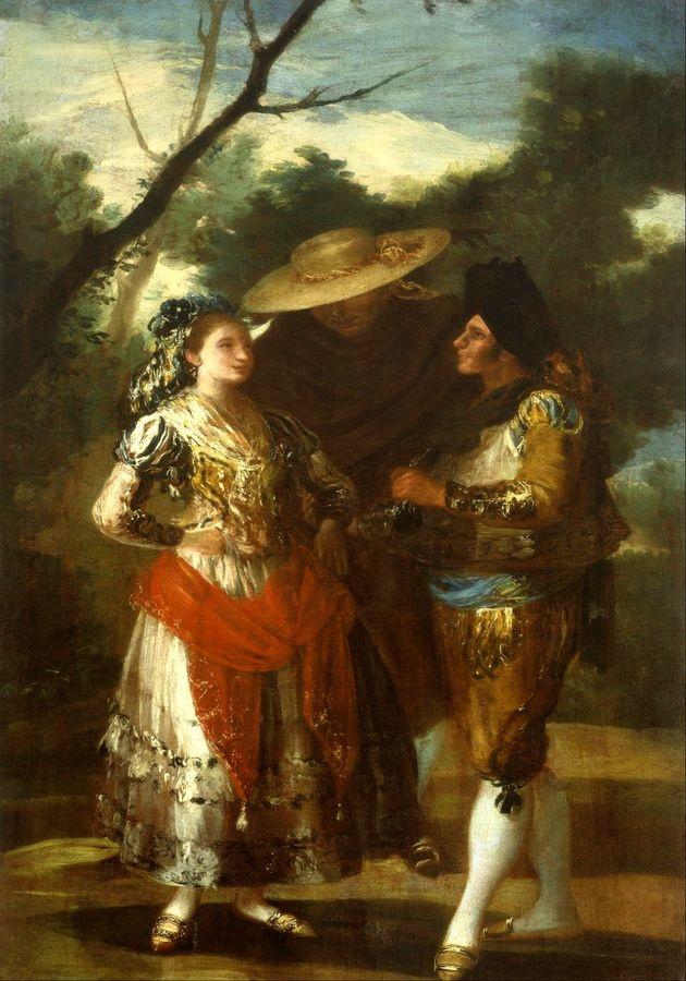 Slavné obrazy XVII-105 Francisco de Goya y Lucientes - Maja se dvěma toreadory