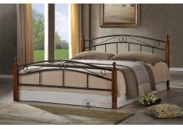 Kovová postel 140x200cm CRETA černá / třešeň