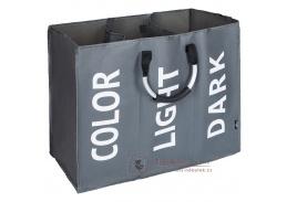 DEKLIN, látkový koš na prádlo, šedá / stříbrná / bílá