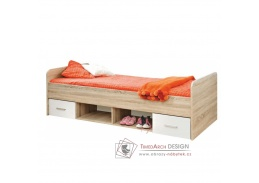 EMIO 04, postel se zásuvkami 90x200cm, dub sonoma / bílá