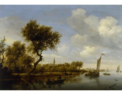 Slavné obrazy XIV-85 Salomon van Ruysdael - Říční krajina s kostelem