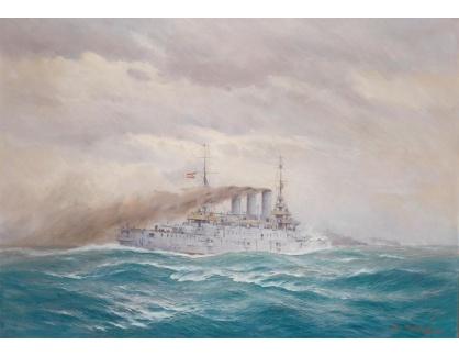 Slavné obrazy XVI-282 August von Ramberg  - Loď Ferdinand Max na volném moři