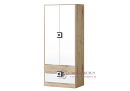 NIKO 01, šatní skříň dvoudveřová, dub jasný / bílá / popel