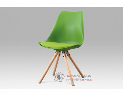 CT-233 GRN, jídelní židle, buk / plast + ekokůže zelená