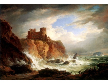VANG172 Alexander Nasmyth - Pohled na hrad Tantallon