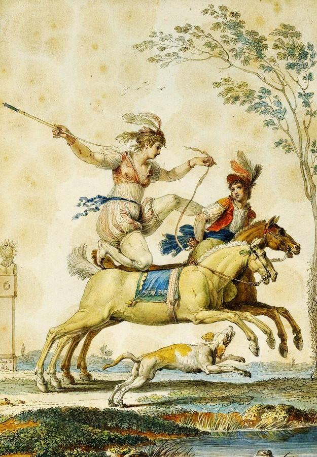 Krásné obrazy II-109 Jean Demosthene Dugourc - Jezdečtí akrobati