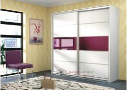 DUBAJ, šatní skříň 220cm, bílá / fialové sklo