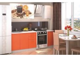 VALERIA ART, kuchyně 160cm, bílá / oranžový + bílý lesk / Orange