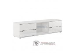 ADONIS AS 30, televizní stolek, bílá / vysoký lesk bílý