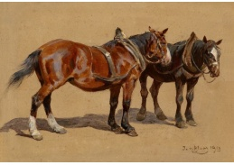 Slavné obrazy VIII-146 Julius von Blaas - Dva koně