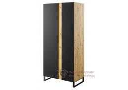 LAKO 01, šatní skříň 2-dveřová s LED osvětlením, dub evoke / černá
