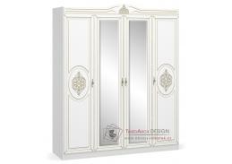MILAN, šatní skříň 4-dveřová 180cm, bílý mat