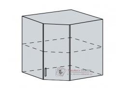 CHARLIZE, horní skříňka rohová 60HR, bílá / bílé dřevo