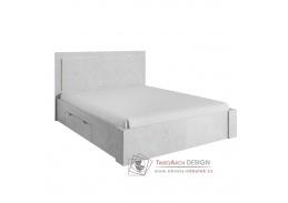 ALDEN, postel s ÚP 160x200cm, šedý beton