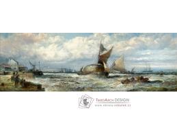 D-6422 William Anslow Thornley - Lodě a bárky v silném větru u Doveru