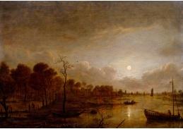 D-6582 Aert van der Neer - Řeka v měsíčním světle s postavami