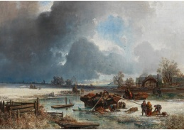 D-9238 Adolf Obermüllner - Rybářský člun v zimní krajině