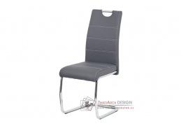 HC-481 GREY, jídelní židle, chrom / ekokůže šedá