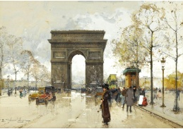 Krásné obrazy I-102 Eugene Galien-Laloue - Vítězný oblouk v Paříži