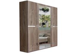 AMÁLIE 568, šatní skříň 4-dveřová 180cm, dub bahenní / zrcadla