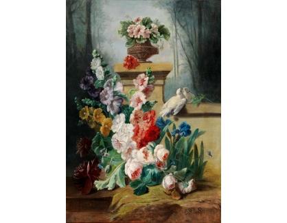 Slavné obrazy I-DDSO-146 George Viard - Květinové zátiší s hrdličkou na zdi parku