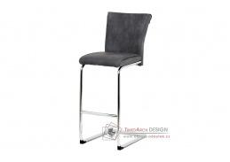 BAC-192 GREY, barová židle, chrom / ekokůže šedá
