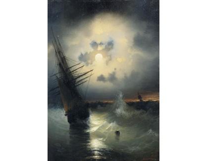 Slavné obrazy I-DDSO-193 Ivan Konstantinovič Aivazovsky - Plachetnice na volném moři při svitu měsíce