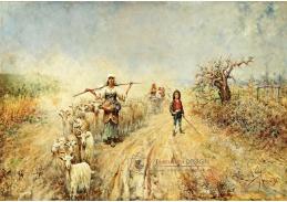Slavné obrazy X DDSO-1008 Rafael Senet y Pérez - Návrat stáda v Campagna