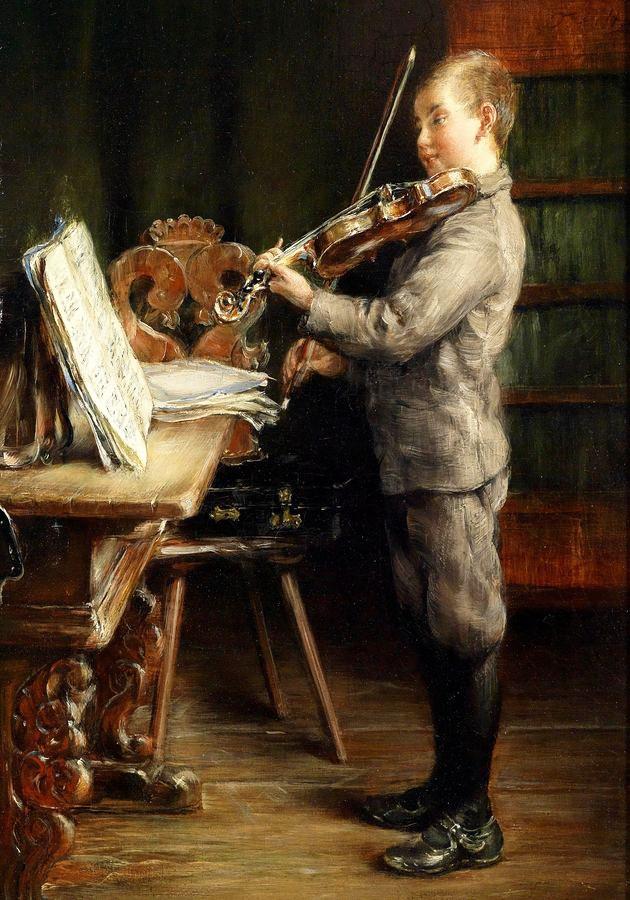 Krásné obrazy V-105 Otto Piltz - Chlapec hrající na housle