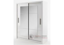 IDEA 02, šatní skříň s posuvnými dveřmi 180cm, bílá / zrcadlo