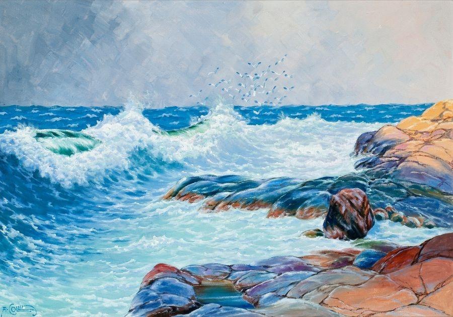 Slavné obrazy XVI-105 Alfred Collin - Vlny u skalnatého břehu