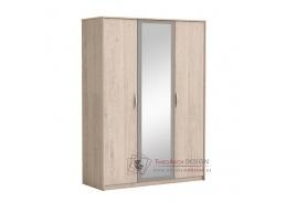 GRAPHIC, šatní skříň 3-dvéřová 120cm se zrcadlem, dub arizona / šedá