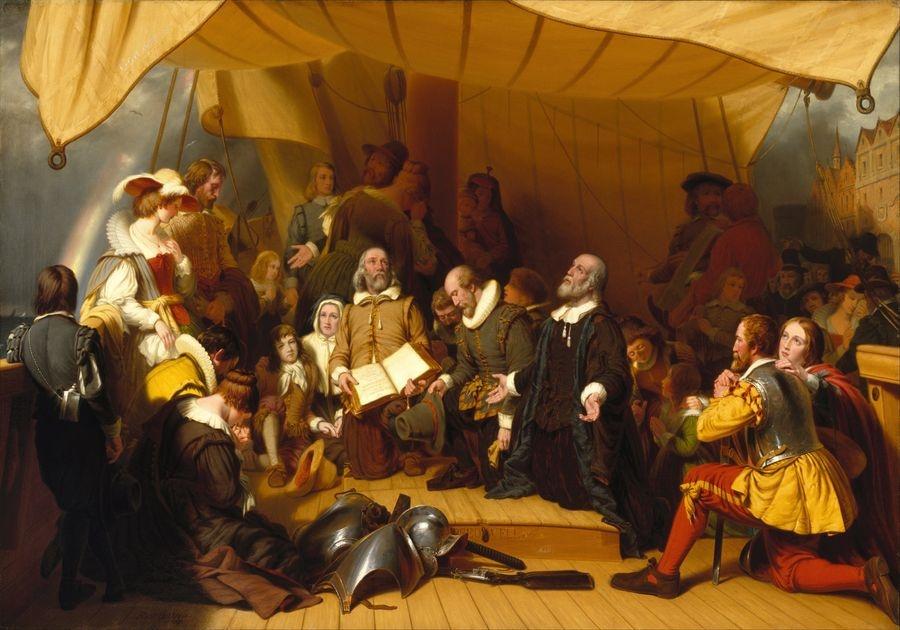 Slavné obrazy XIV-77 Robert Walter Weir - Nalodění poutníků na Pilgrims