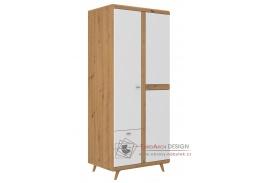 BORGEN, šatní skříň 2-dveřová se 2-mi zásuvkami, dub artisan / bílý lesk