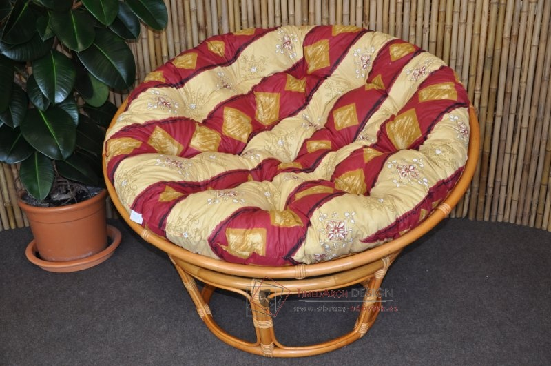 Ratanový papasan 110 cm  medový polstr vínový motiv