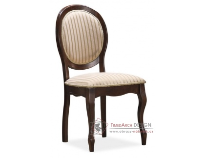 FN-SC, jídelní čalouněná židle, ořech / látka béžová vzor