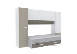 TIDY, sestava nábytku, bílá / šedo-hnědá taupe