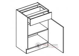 MORENO, dolní skříňka se zásuvkou D50/S1, bílá / dub sonoma / skořicová akácie
