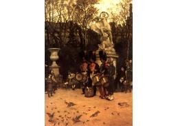 R16-10 James Tissot - Bubnování k ústupu v zahradách Tuileries