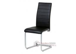 DCL-102 BK, jídelní židle, šedý lak / ekokůže černá