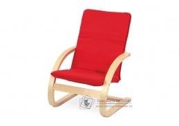QR-06 RED, dětské relaxační křeslo, přírodní / látka červená