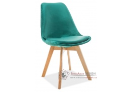 DIOR VELVET, jídelní čalouněná židle, buk / látka zelená