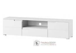 SELENE 09, televizní stolek 2-dveřový, bílá / bílý lesk