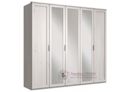 MARGITA 566, šatní skříň 5-ti dveřová 225cm, dub bílý