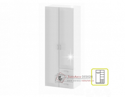 GWEN 70425, skříň, bílá / bílý lesk